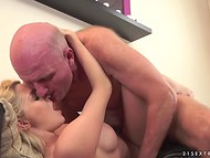 Mature geezer teaches young golden-haired lover several time-proved sexual tricks   11