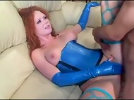 Powerful pal organized an unforgettable anal rodeo for copper-top cutie in turquoise latex outfit